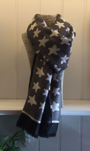 Star Print Scarf - Grey with White Stars and Black & White Border